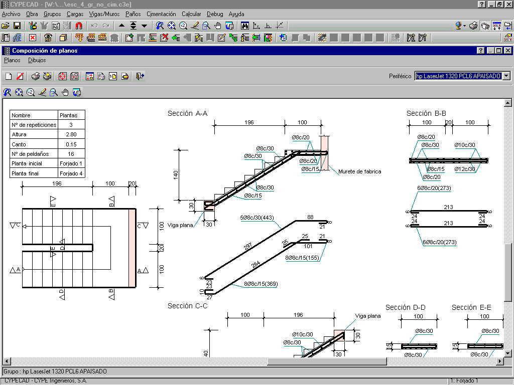 Cypecad escaleras integradas en cypecad foros s lo for Planos de escaleras de concreto armado